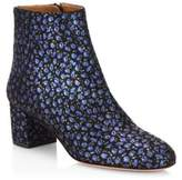 Aquazzura Brooklyn Floral-Print Suede Booties