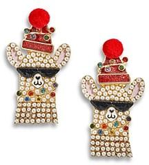 BaubleBar Multicolor Crystal & Imitation Pearl Happy Llama Day Drop Earrings