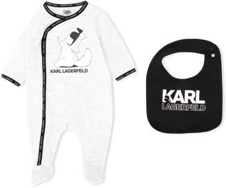 Karl Lagerfeld Paris logo long-sleeve bodysuit