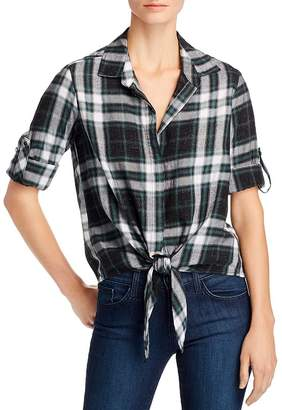 Bella Dahl Metallic Plaid Tie-Front Shirt