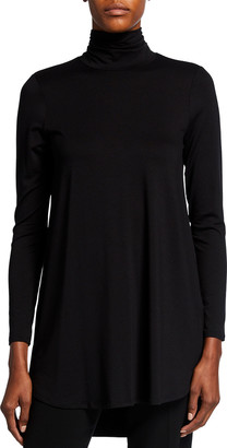Eileen Fisher Scrunch-Neck Long-Sleeve Jersey Tunic