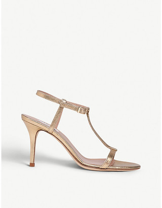 LK Bennett North T-bar metallic leather heeled sandals