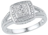 1/20 CT. T.W. Round Diamond Miracle Set Square Fashion Ring in Sterling Silver