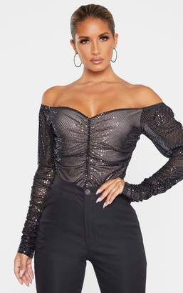 Bardot Vltrad Black Sequin Ruched Long Sleeve Bodysuit