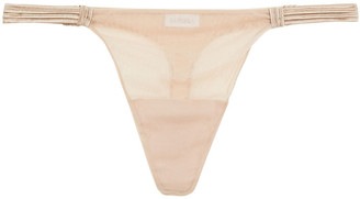 La Perla Tulle Nervures Satin-trimmed Stretch-tulle Low-rise Thong