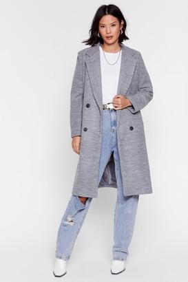 Nasty Gal Womens Wool You Be Mine Longline Faux Wool Coat - Grey - L