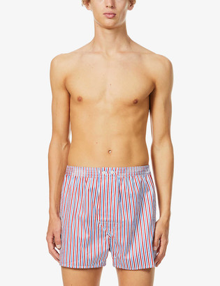 Derek Rose Striped cotton woven boxer shorts