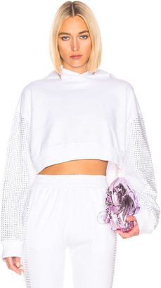 Frankie B. Kylie Crystal Crop Hoodie in Bone | FWRD