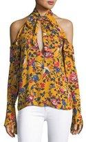 Tanya Taylor Adriene Floral-Print Cold-Shoulder Top