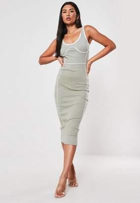 Missguided Khaki Rib Contrast Seam Sleeveless Midi Dress