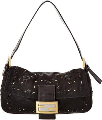 Fendi Black Embellished Suede Mama Shoulder Bag