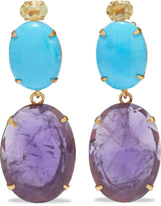 Bounkit Convertible 14-karat Gold-plated, Quartz, Turquoise And Amethyst Earrings