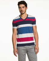Le Château Stripe Cotton Blend V-Neck Top