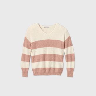 Knox Rose™ Women's Striped V-Neck Pullover Sweater - Knox RoseTM