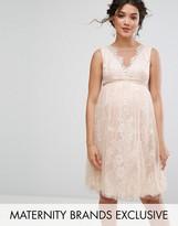 Chi Chi Maternity Chi Chi London Maternity Floral Lace Applique Midi Dress