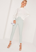 Missguided High Waisted Cigarette Trousers Green