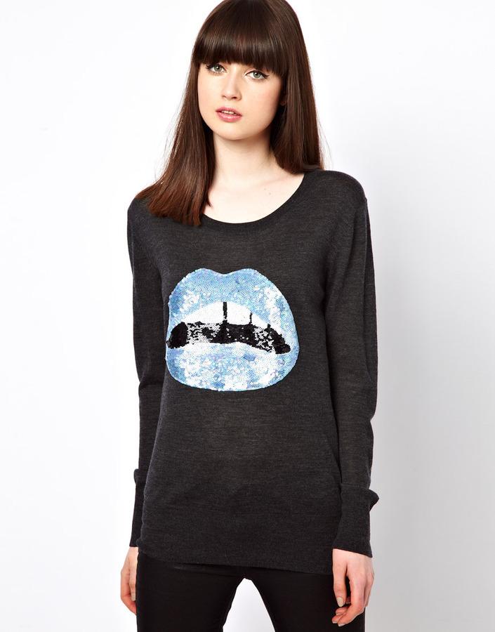 Markus Lupfer Blue Sequin Lips Sweater