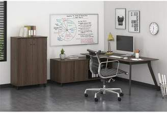 Holmes Comm Office Desk and Storage Cabinet Set Comm Office Color: Medium Brown