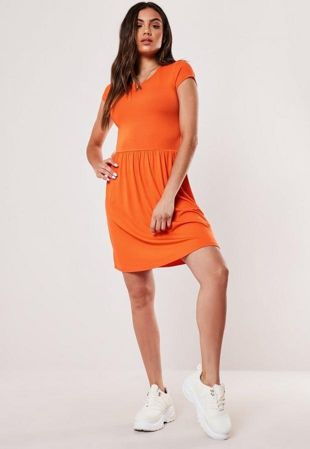 Missguided Tall Orange Short Sleeve Skater Dress