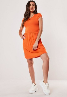 Missguided Orange Short Sleeve Skater Dress