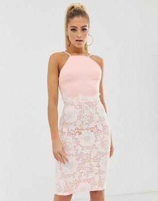 Girl In Mind lace low back midi dress-Yellow