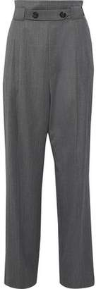 Helmut Lang Button-detailed Gathered Wool-twill Wide-leg Pants