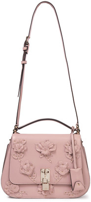 Valentino Studded Floral-appliqued Leather Shoulder Bag