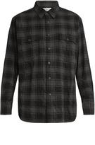 Saint Laurent Distressed checked cotton-blend flannel shirt