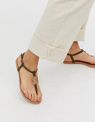 New Look ring detail flat sandal in khaki-Green