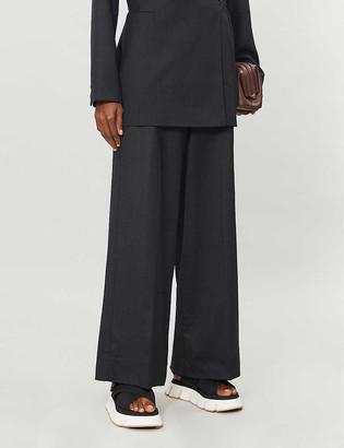 Ganni Wide-leg high-rise wool trousers