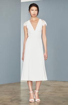 Amsale Lace Back Tea Length Dress