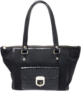 DKNY Black Canvas and Embossed Croc Leather Shoulder Bag
