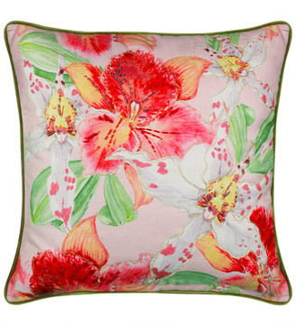 Edie@Home Lily Beaded Floral Decorative Pillow