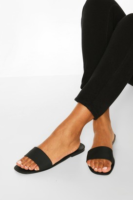 boohoo Jelly Square Toe Sliders