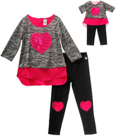 Dollie & Me Fuchsia & Black Leggings Set & Doll Outfit - Girls