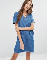 Tommy Hilfiger Tunic Dress With Raw Hem And Oversized Pockets
