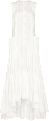 Aje Hushed Tiered Cotton Button-Front Maxi Dress