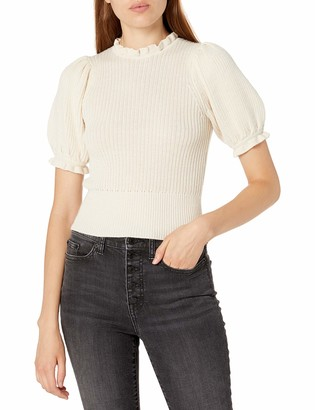 ASTR the Label Women's Caitlyn Short Puff Sleeve Mock Neck Fitted Sweater