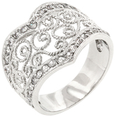 Kate Bissett Cubic Zirconia & Silvertone Filigree-Heart Ring