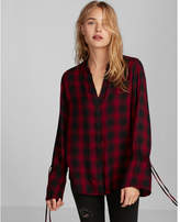 Express plaid bell sleeve shirt
