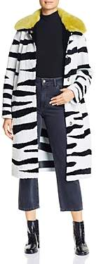 Nour Hammour Savannah Zebra-Print Real Shearling Coat
