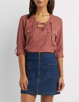 Charlotte Russe Lace-Up Pocket Shirt