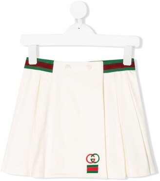 Gucci Kids Web detail pleated skirt
