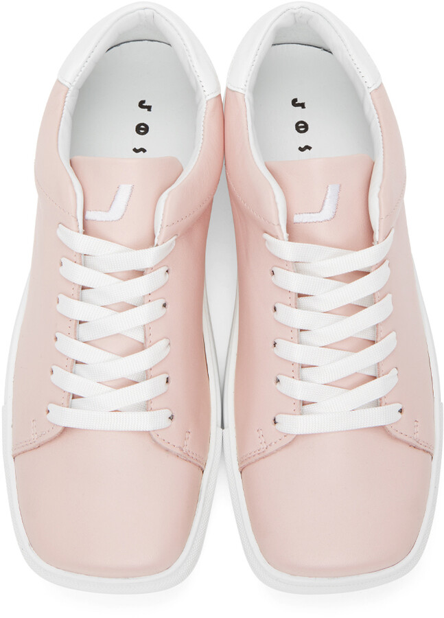 Thumbnail for your product : Joshua Sanders Pink & White Square Toe Sneakers