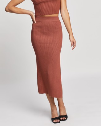 Atmos & Here Atmos&Here - Women's Brown Midi Skirts - Sara Split Midi Knit Skirt - Size S at The Iconic