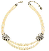 Ben-Amun Two Row Pearl Necklace with Crystal Stations