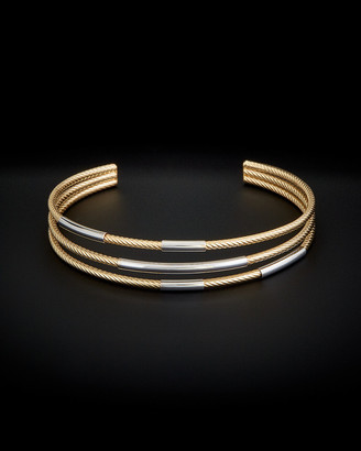 Italian Gold 14K Two-Tone Twisted Triple Cuff
