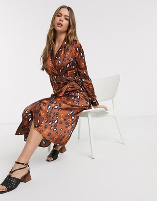 Influence satin belted midi dress in multi print