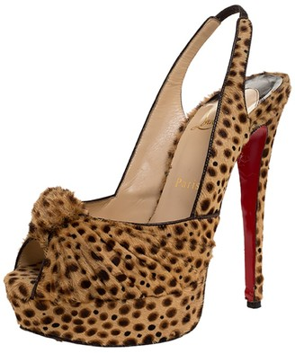 Christian Louboutin Brown Calf hair Jenny Knotted Slingback Platform Sandals Size 38