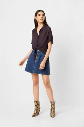 French Connection Crinkle Short Sleeve Tie Shirt